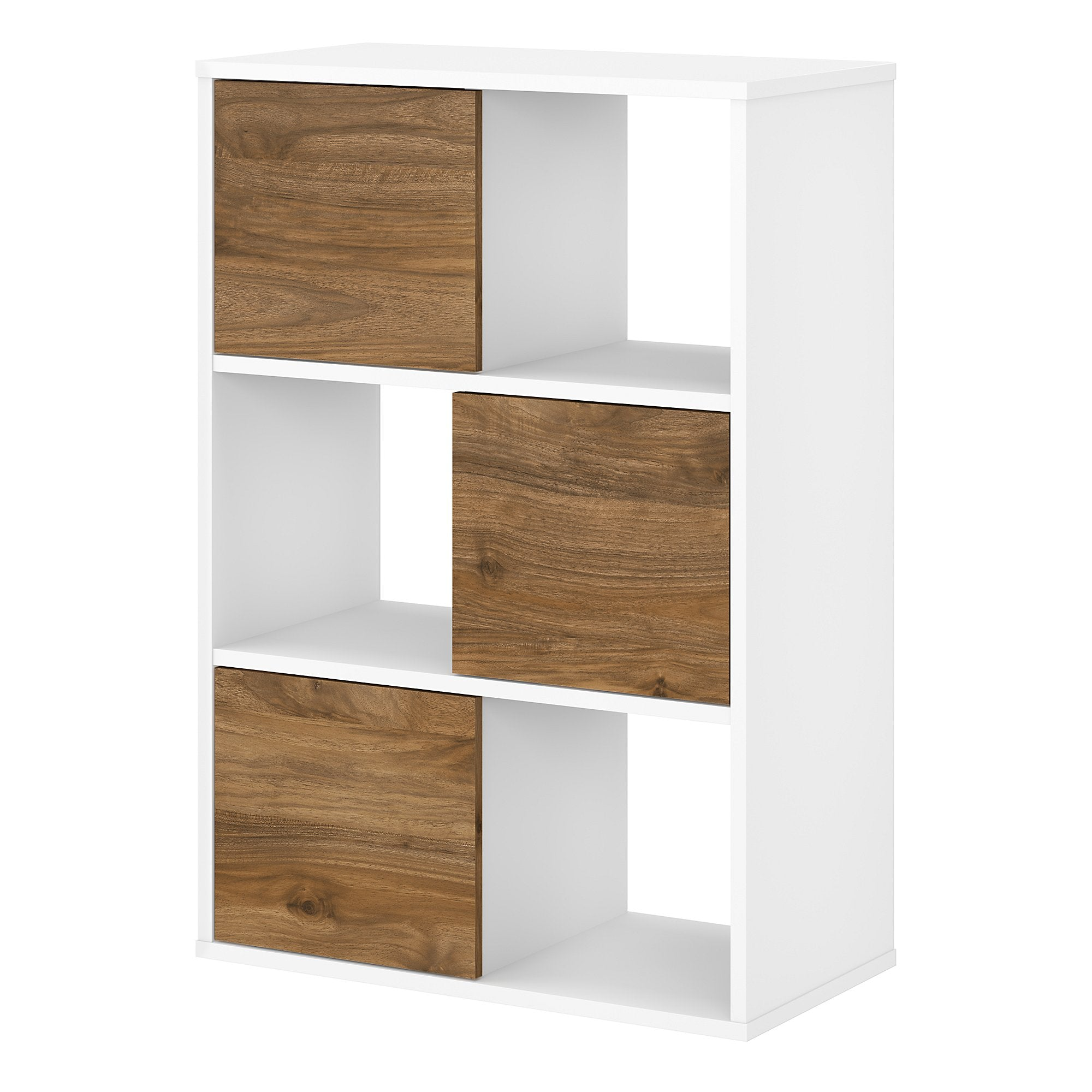 Bush Business Furniture Jamestown 6 Cube Organizer -Fresh Walnut/White