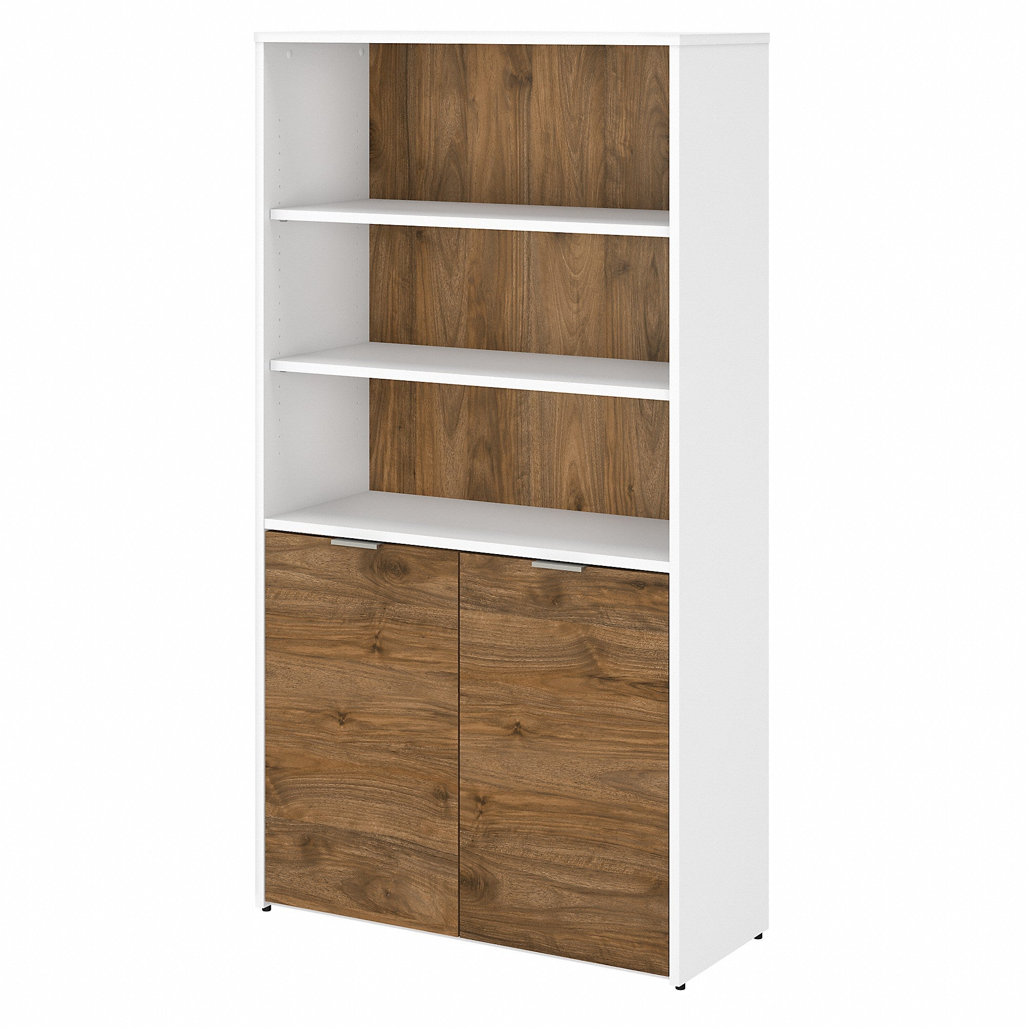Jamestown 5 Shelf Bookcase with Doors -Fresh Walnut/White