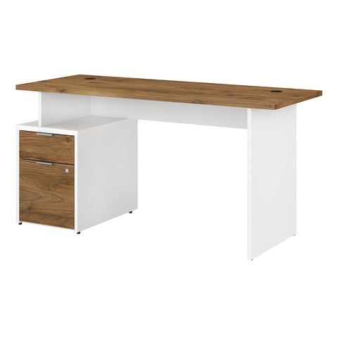 Jamestown 60W Desk with 2 Drawers -Fresh Walnut/White
