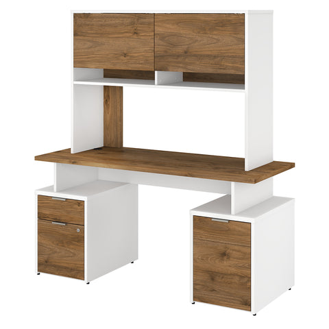 Jamestown 60W Desk with Drawers, Storage Cabinet & Hutch
