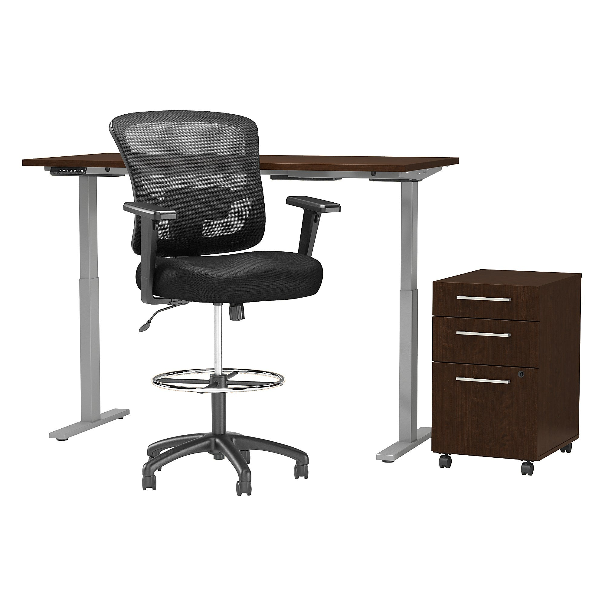 Electric Height Adjustable Standing Desk with Storage & Drafting Chair