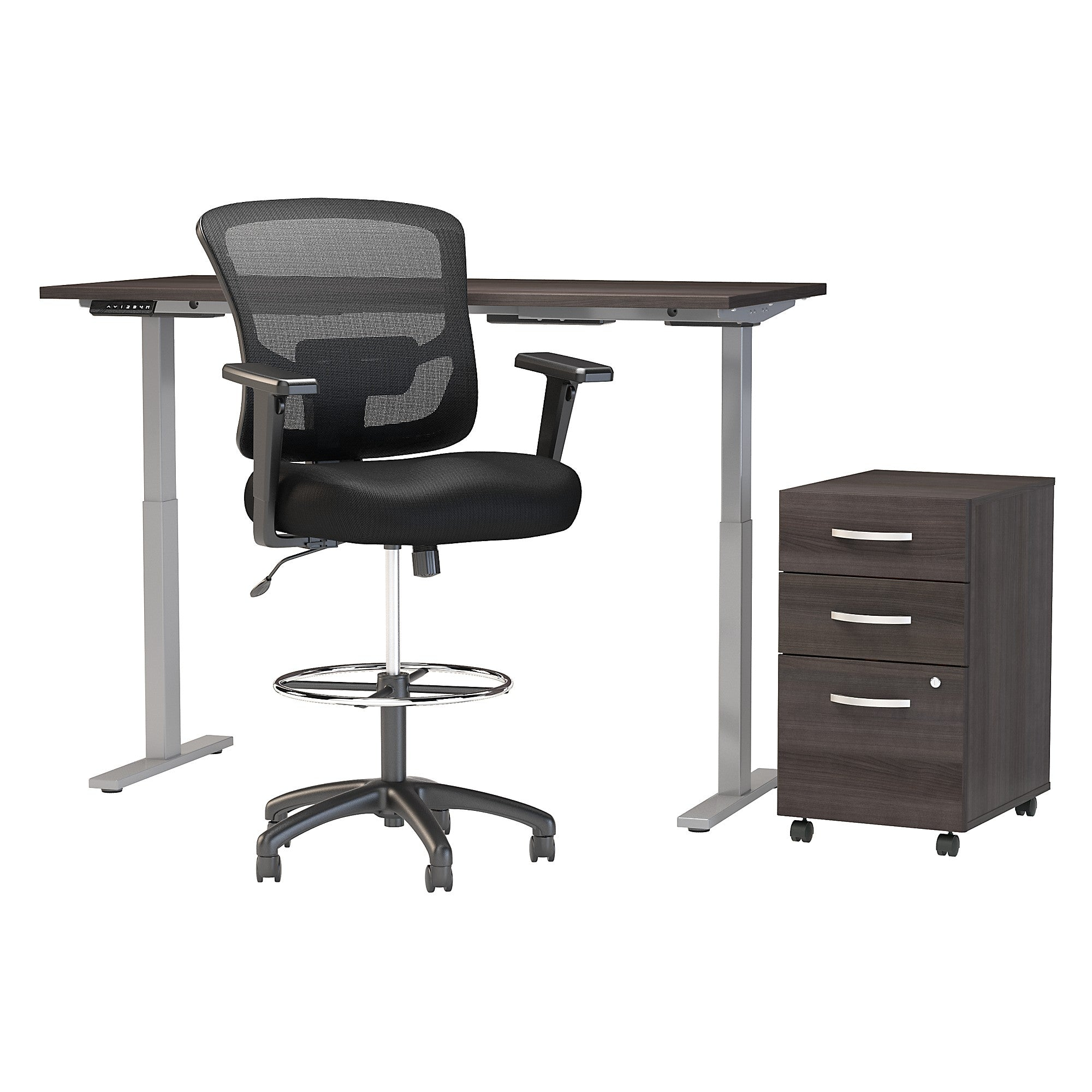 Height Adjustable Standing Desk with Storage & Drafting Chair