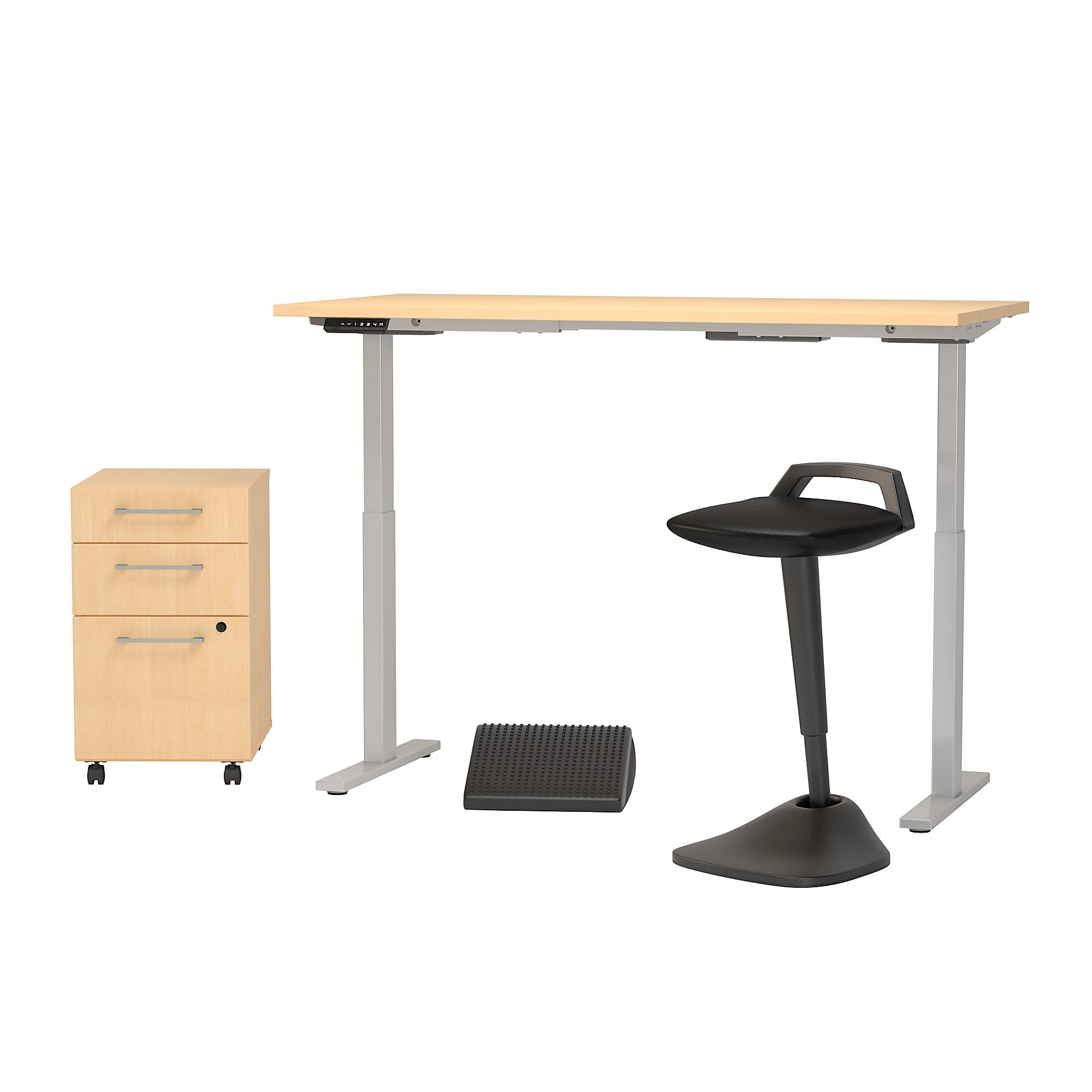Electric Height Adjustable Desk with Lean Stool Storage