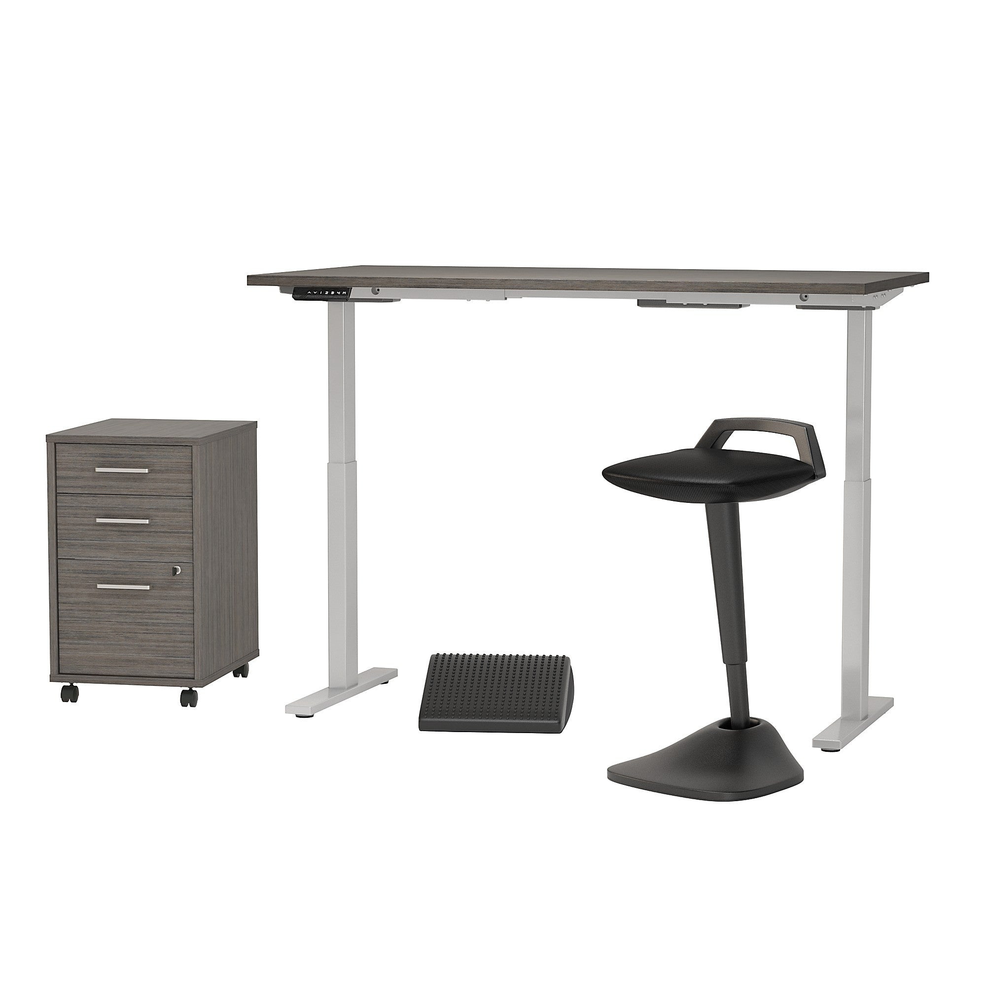 Adjustable Standing Desk w/ Lean Stool Storage & Ergonomic Accessories