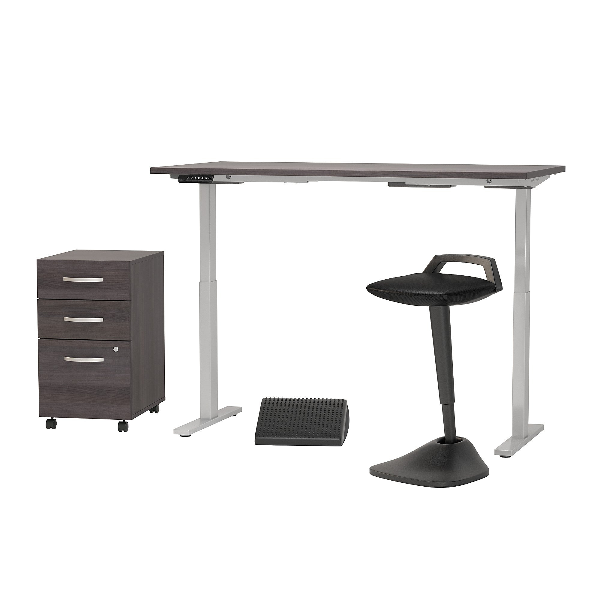 Adjustable Standing Desk with Lean Stool Storage