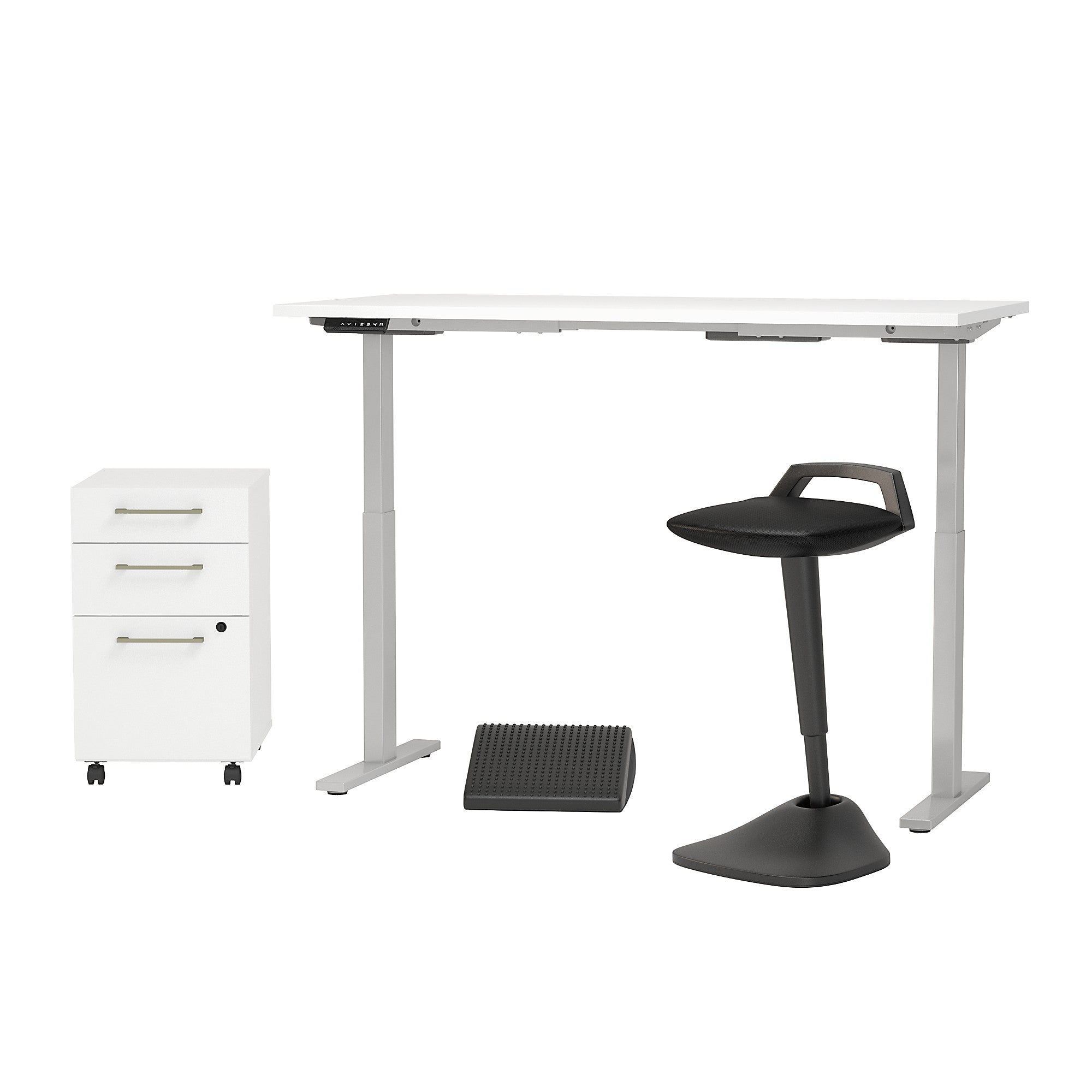Electric Height Adjustable Standing Desk with Lean Stool Storage