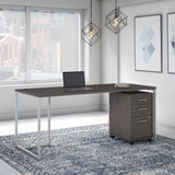 72W Table Desk with 3 Drawer Mobile File Cabinet