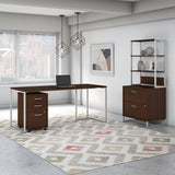 72W Table Desk with File Cabinets & Hutch