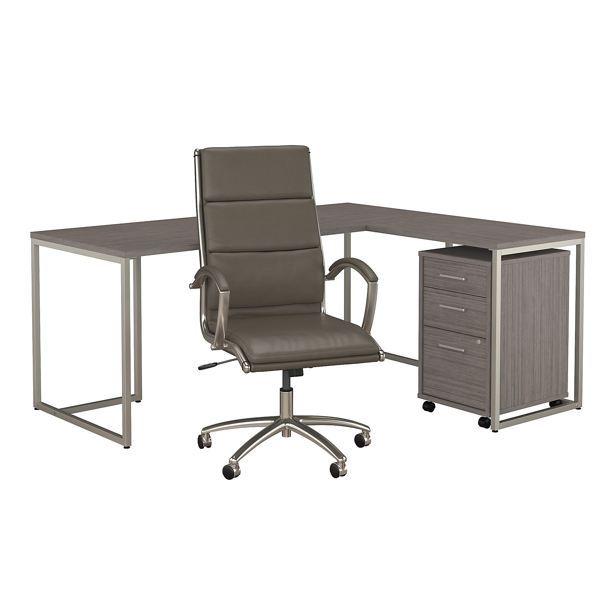Method 72W L Shaped Desk with Mobile File Cabinet & High Back Chair