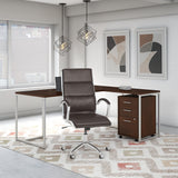 72W L Shaped Desk with Chair & Mobile File Cabinet
