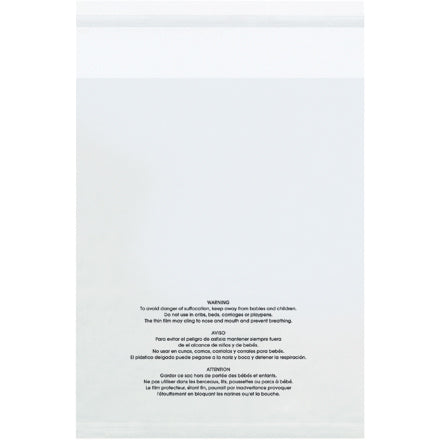 1.5 Mil Resealable Suffocation Warning Clear Poly Bags