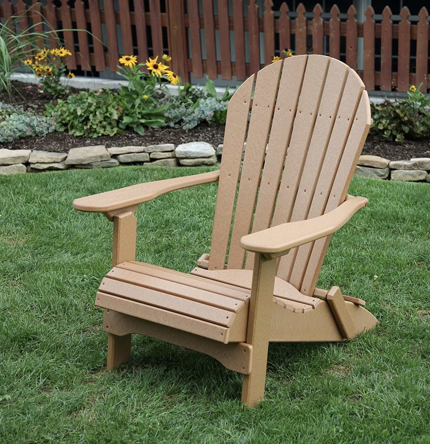 POLY LUMBER Rolled Seating AMISH CRAFTED Folding Adirondack Chair USA