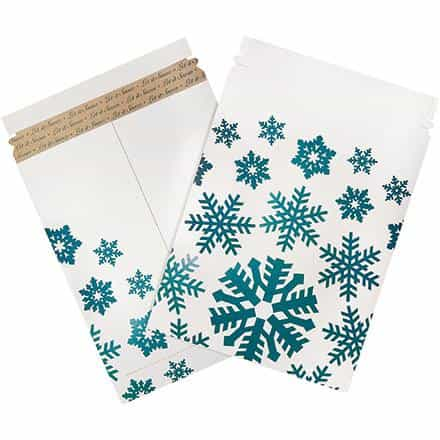 bedinhome - Safety & industrial Supplies Shipping Cartons 9 3/4 Inch x 12 1/4 Inch Snowflake Print Flat Mailers- Case Of 25 - UNBRANDED - Holiday Print Flat Mailers