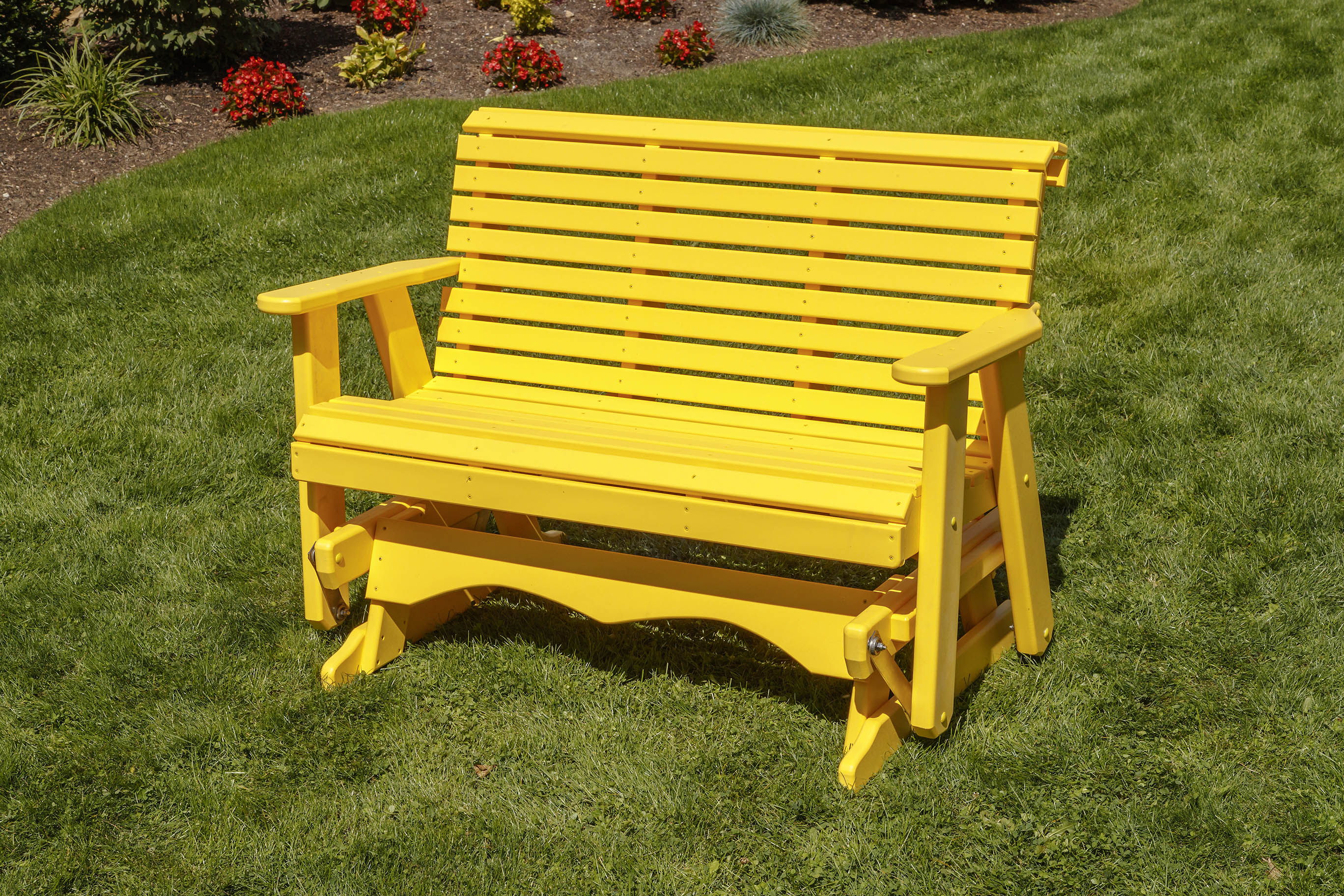 Poly Lumber Roll Back Design Porch Glider-Amish Crafted-Solid Color