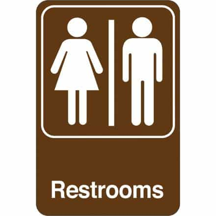 bedinhome - Men/Women Restrooms 9 Inch x 6 Inch Facility Sign- 1 Each - UNBRANDED - Facility Signs