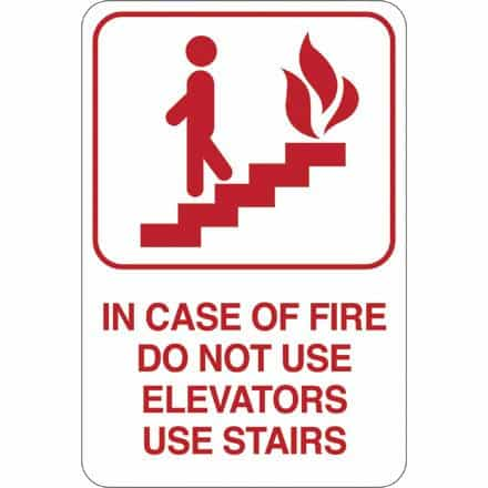 bedinhome - IN CASE OF FIRE 9 Inch x 6 Inch Facility Sign- 1 Each - UNBRANDED - Facility Signs
