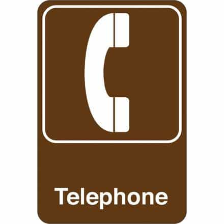 bedinhome - Telephone 9 Inch x 6 Inch Facility Sign- 1 Each - UNBRANDED - Facility Signs