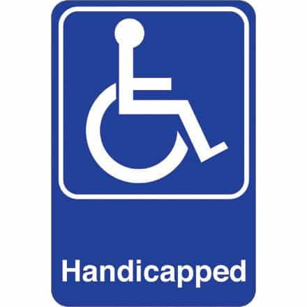 bedinhome - Handicapped 9 Inch x 6 Inch Facility Sign- 1 Each - UNBRANDED - Facility Signs
