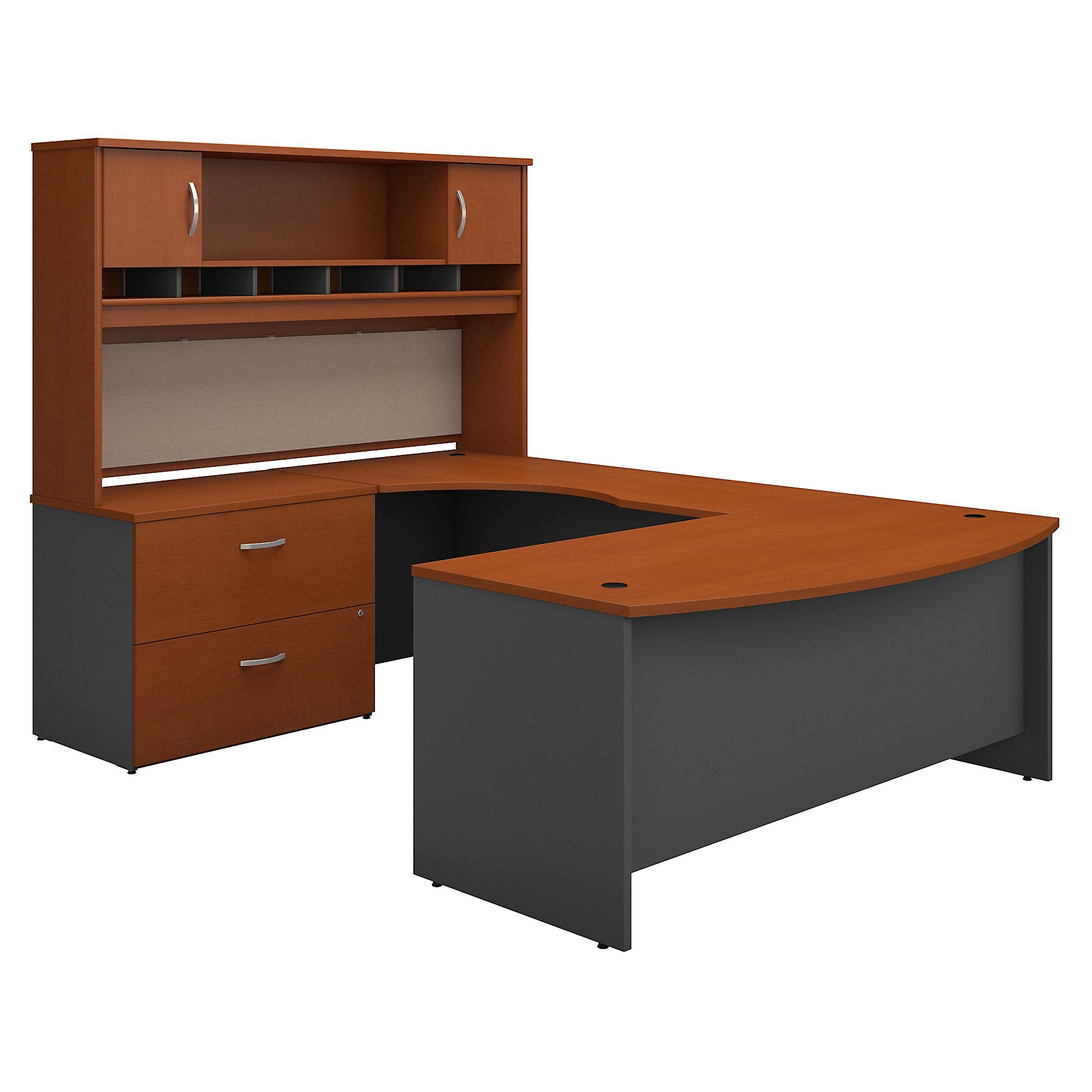 Bush Business Furniture Series C 72W Handed Bow Front U Shaped Desk with Hutch and Storage