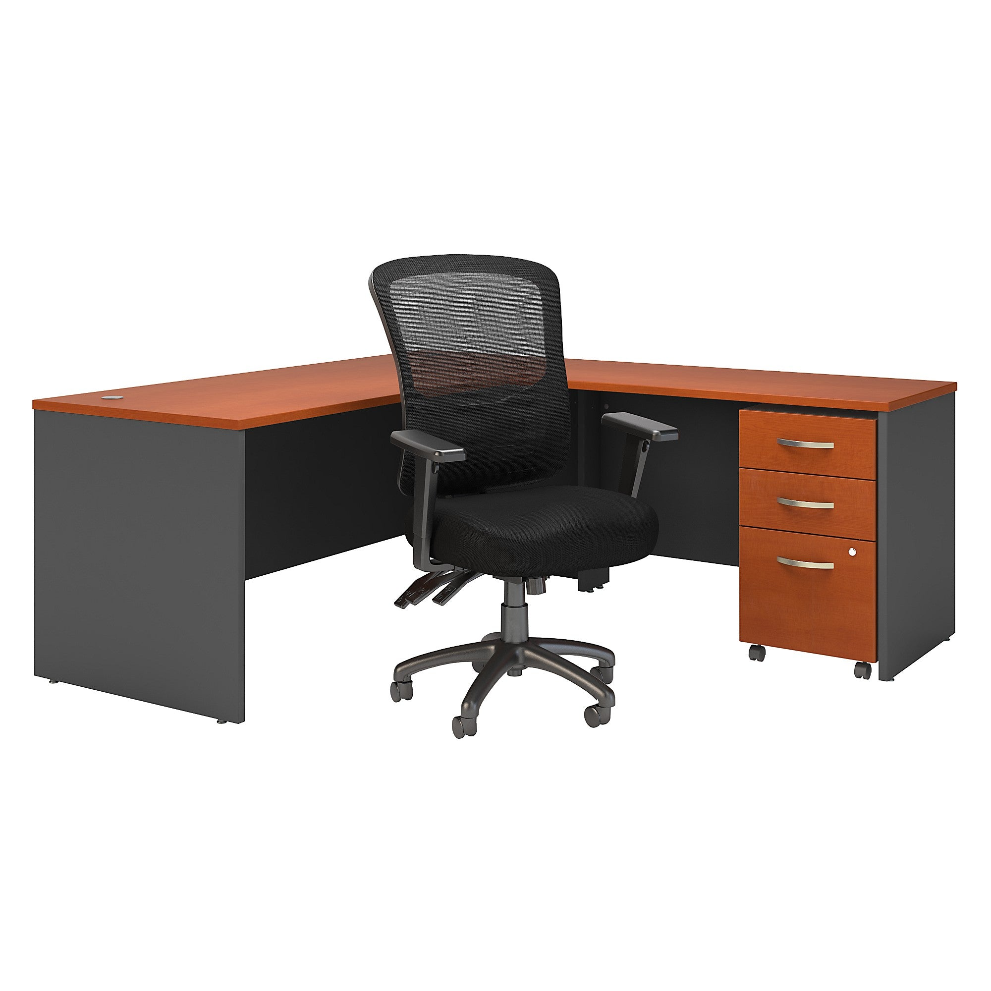 Series C 72W L Shaped Desk with Mobile File Cabinet & High Back Chair