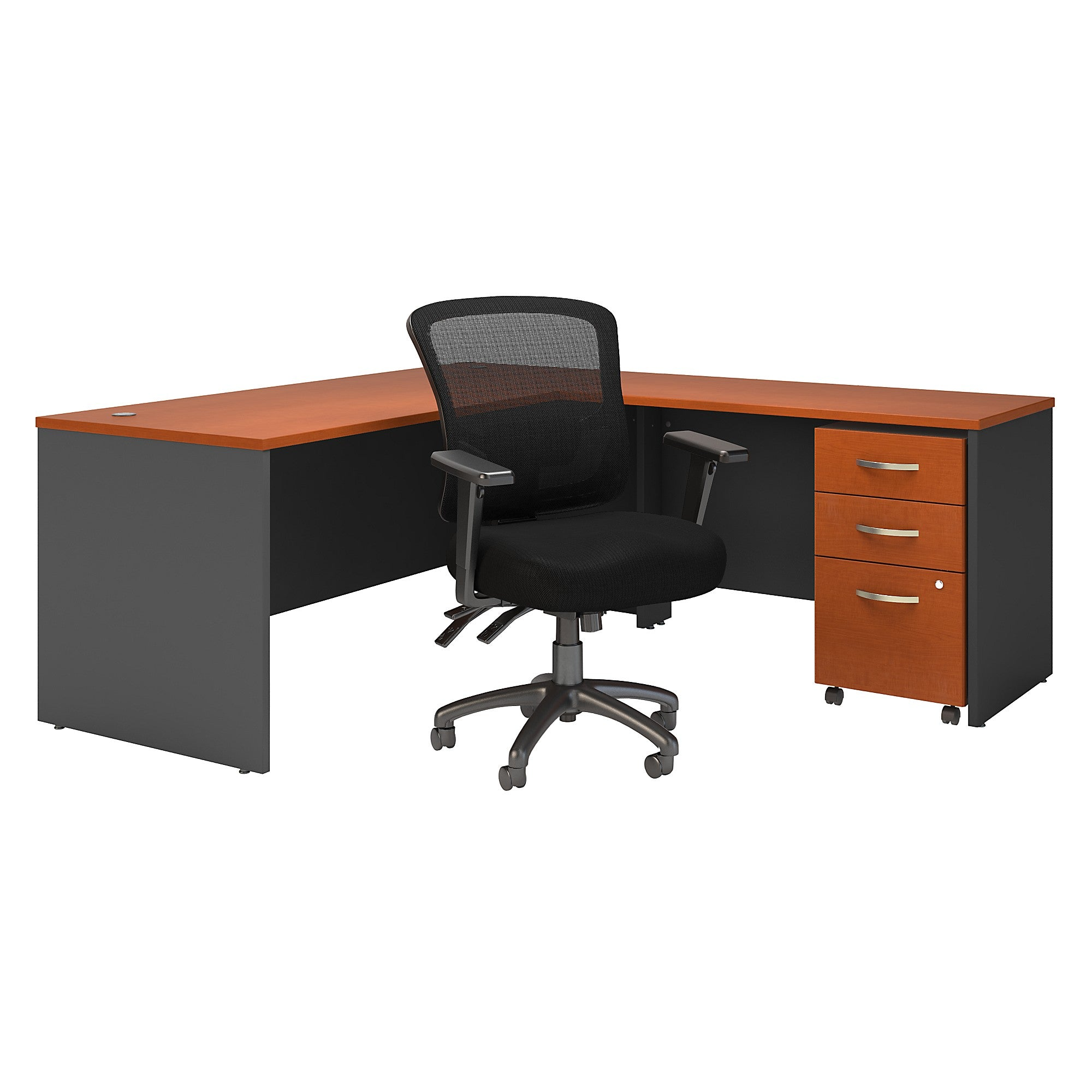 Series C 72W L Shaped Desk with Mobile File Cabinet & Mid Back Chair