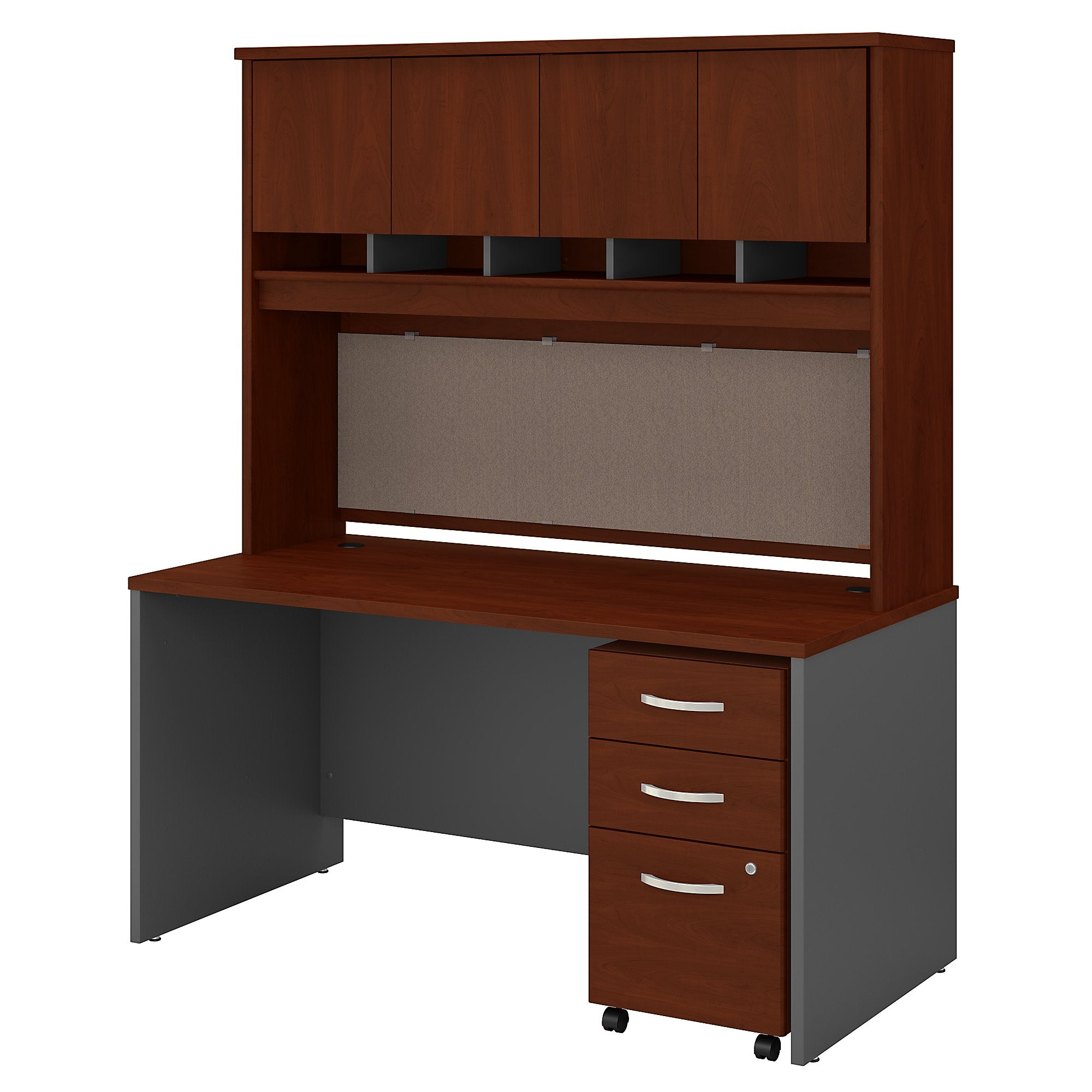Series C 60W x 30D Office Desk with Hutch & Mobile File Cabinet