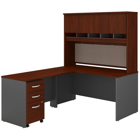 Series C 60W L Shaped Desk with Hutch & Mobile File Cabinet