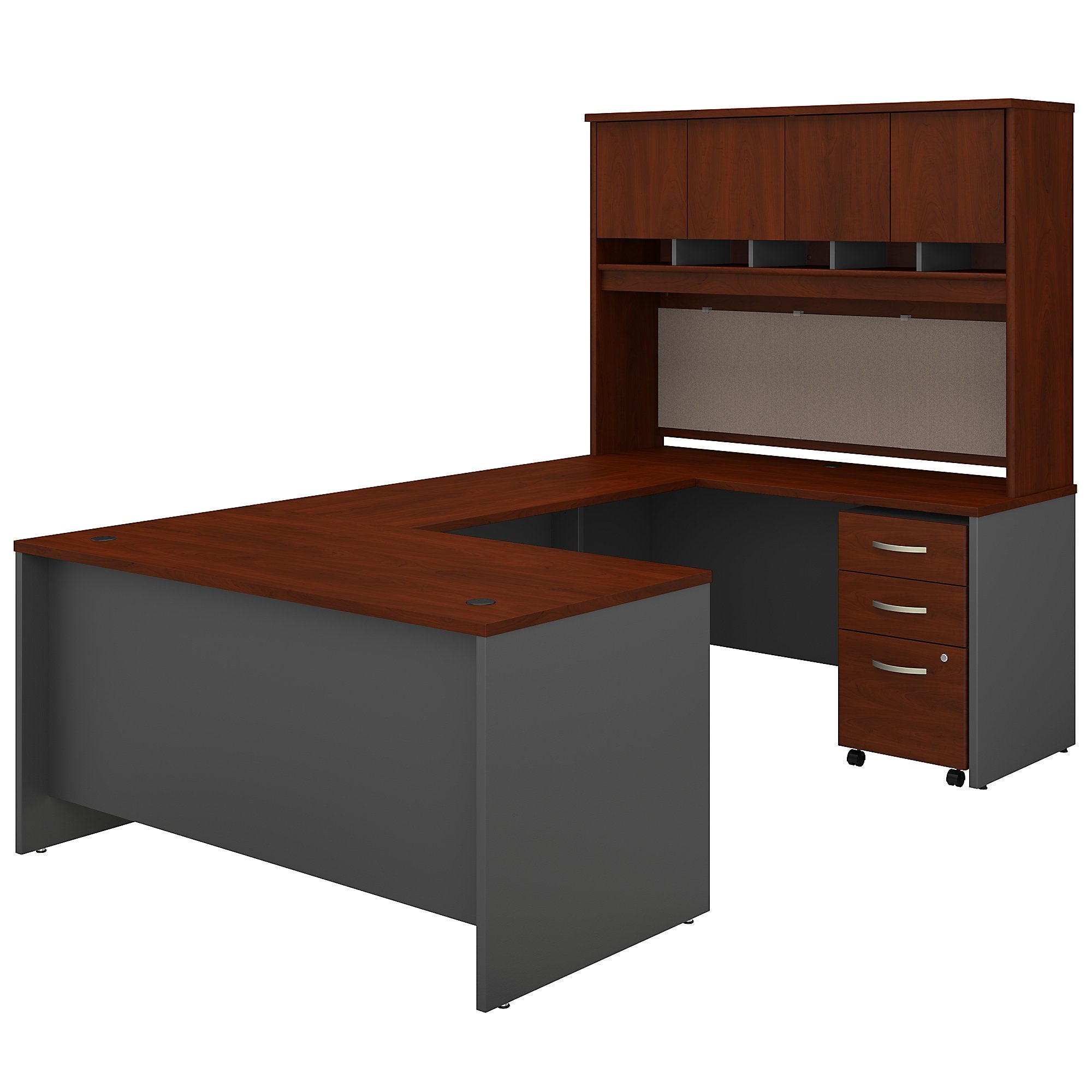 Series C 60W U Shaped Desk with Hutch & Mobile File Cabinet