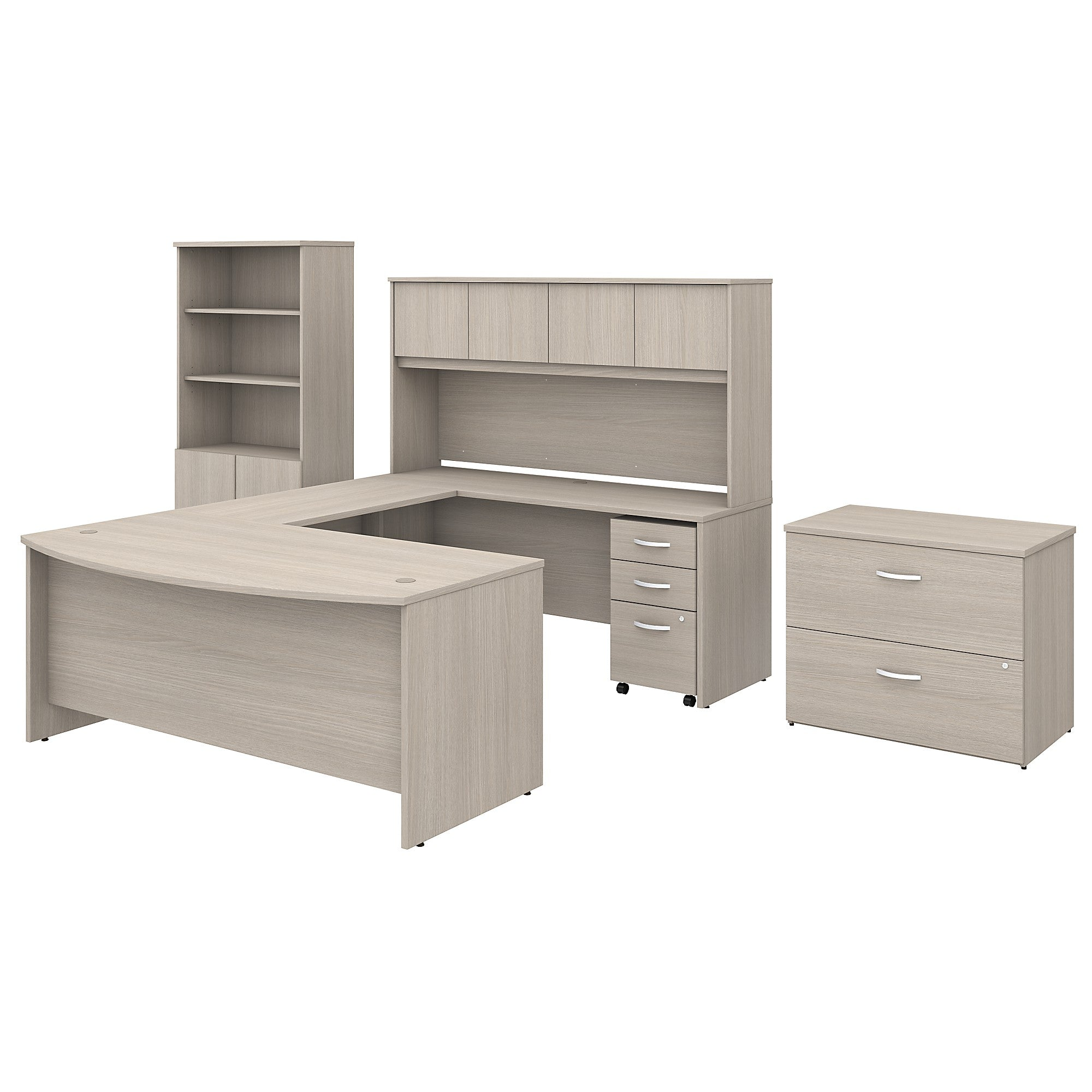 Studio C U Shaped Desk with Hutch, Bookcase & File Cabinets- Sand Oak
