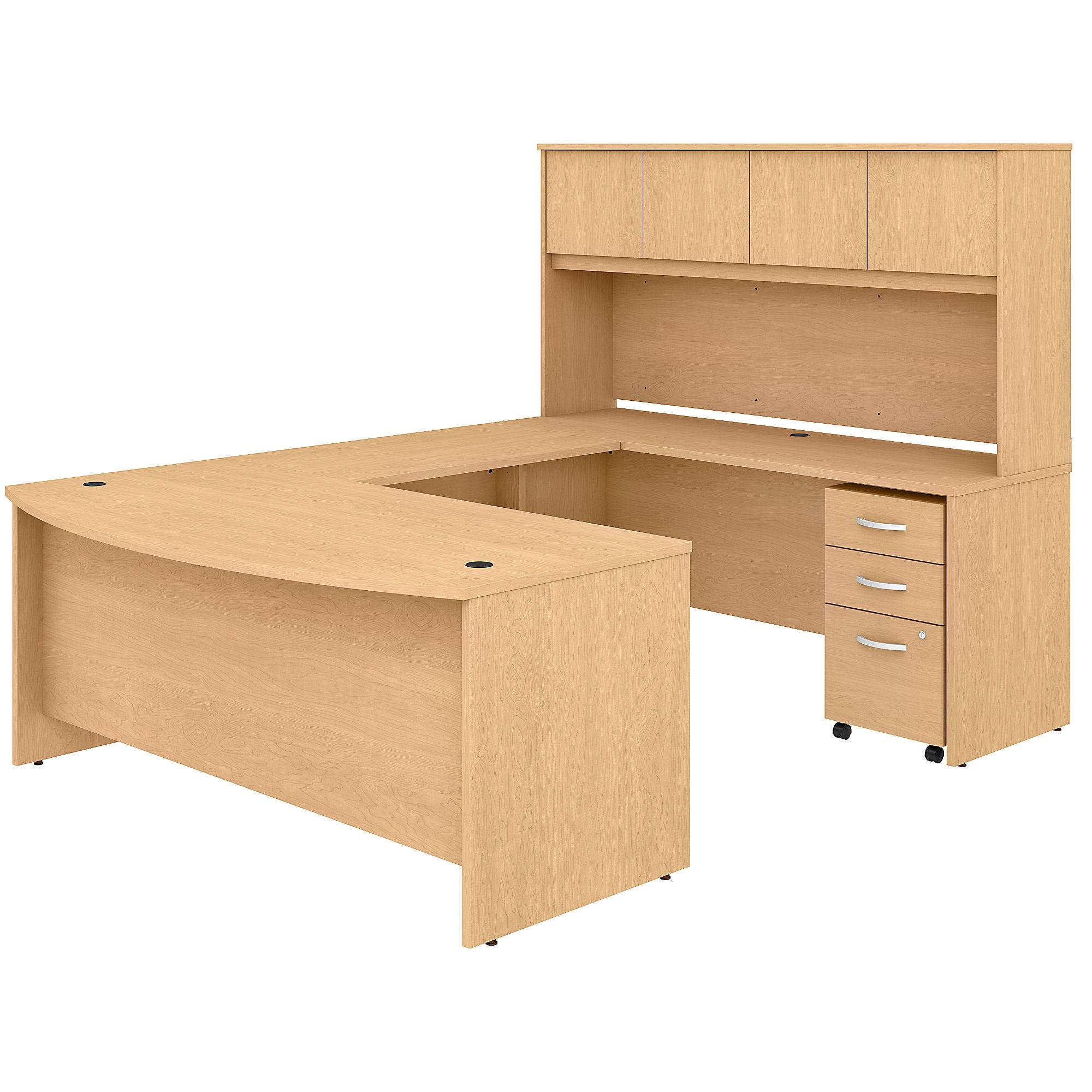 Studio C 72W x 36D U Shaped Desk with Hutch & Mobile File Cabinet