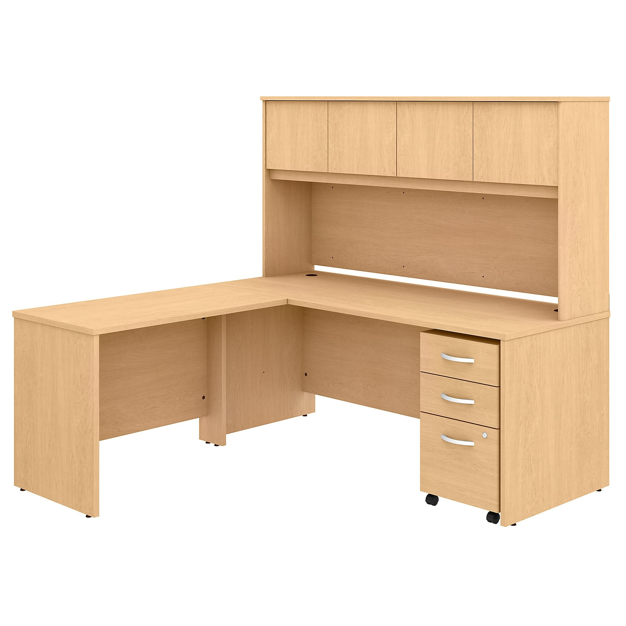 C 72W x 30D L Shaped Desk with Hutch, Mobile File Cabinet & 42W Return