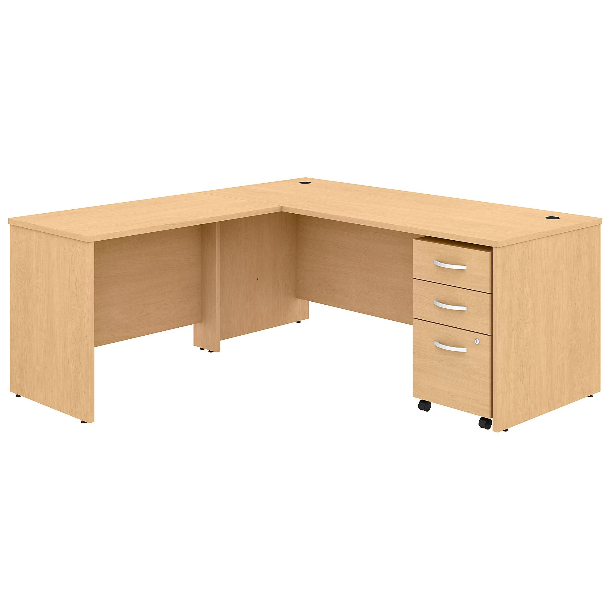 Studio C 72W x 30D L Shaped Desk with Mobile File Cabinet & 42W Return