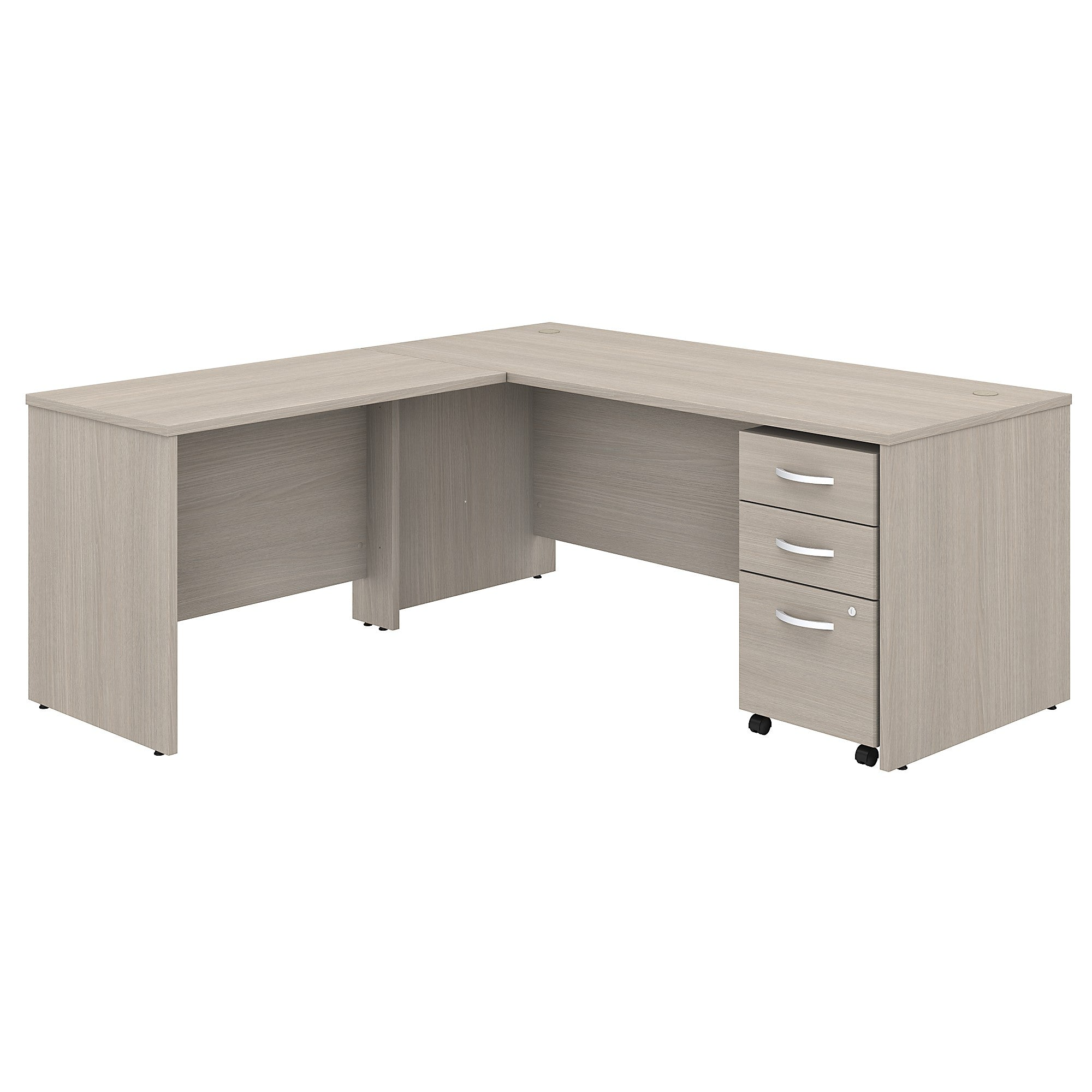 Studio C L Shaped Desk with Mobile File Cabinet & 42W Return- Sand Oak
