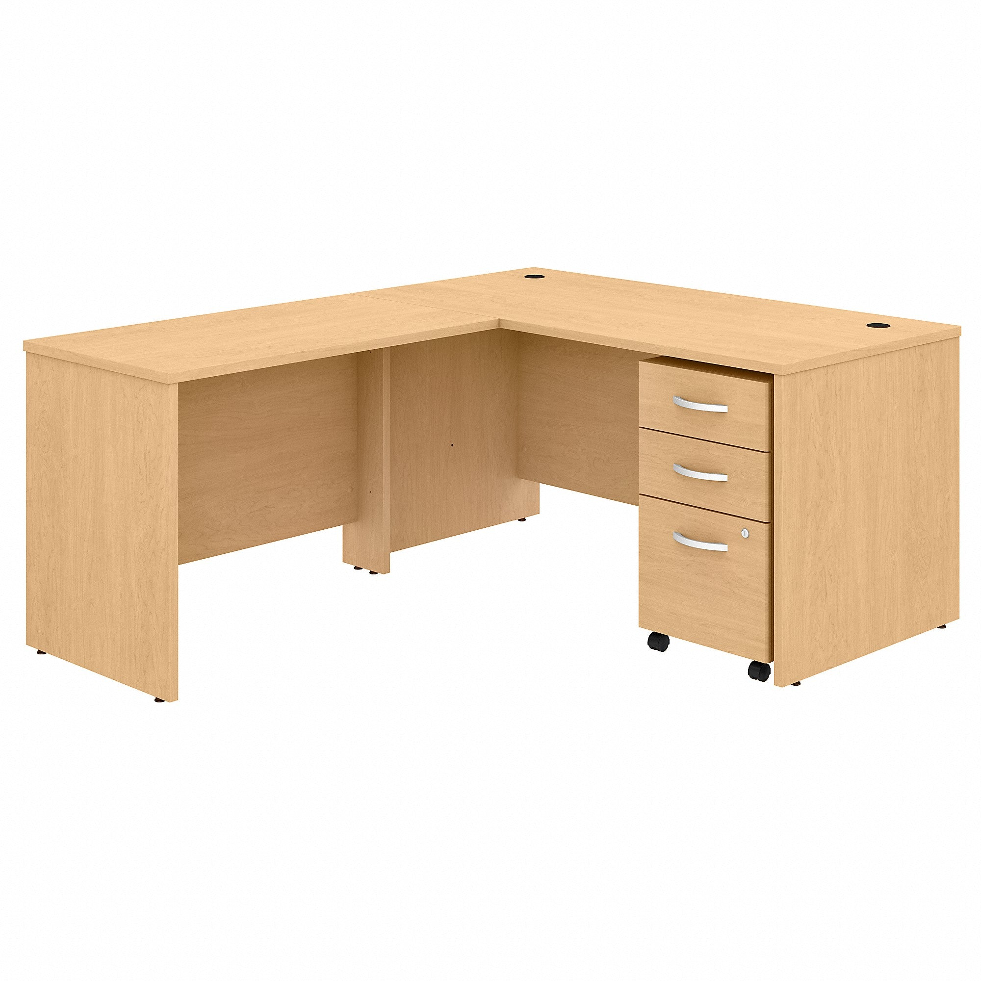 Studio C 60W x 30D L Shaped Desk with Mobile File Cabinet & 42W Return