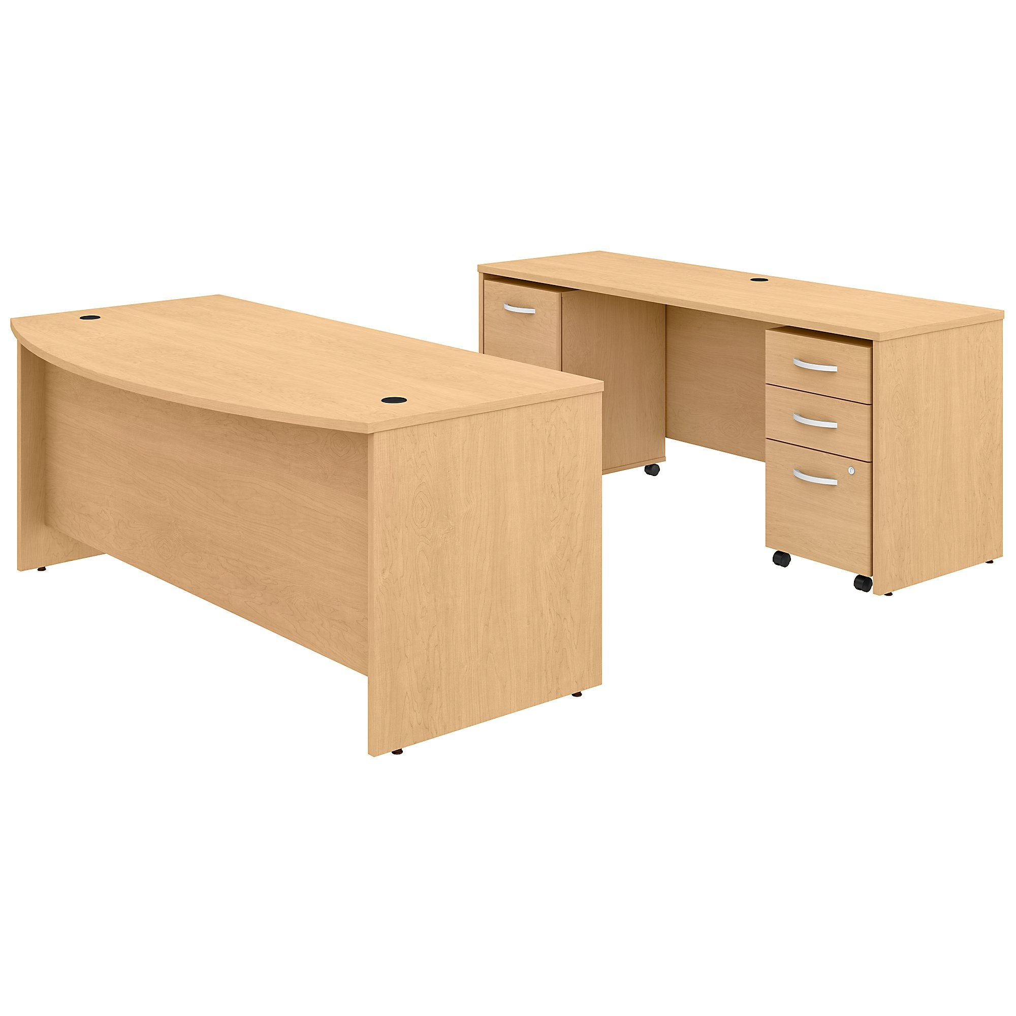 Studio C 72W x 36D Bow Front Desk & Credenza with Mobile File Cabinets