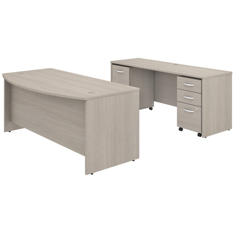 Studio C Bow Front Desk & Credenza with Mobile File Cabinets -Sand Oak