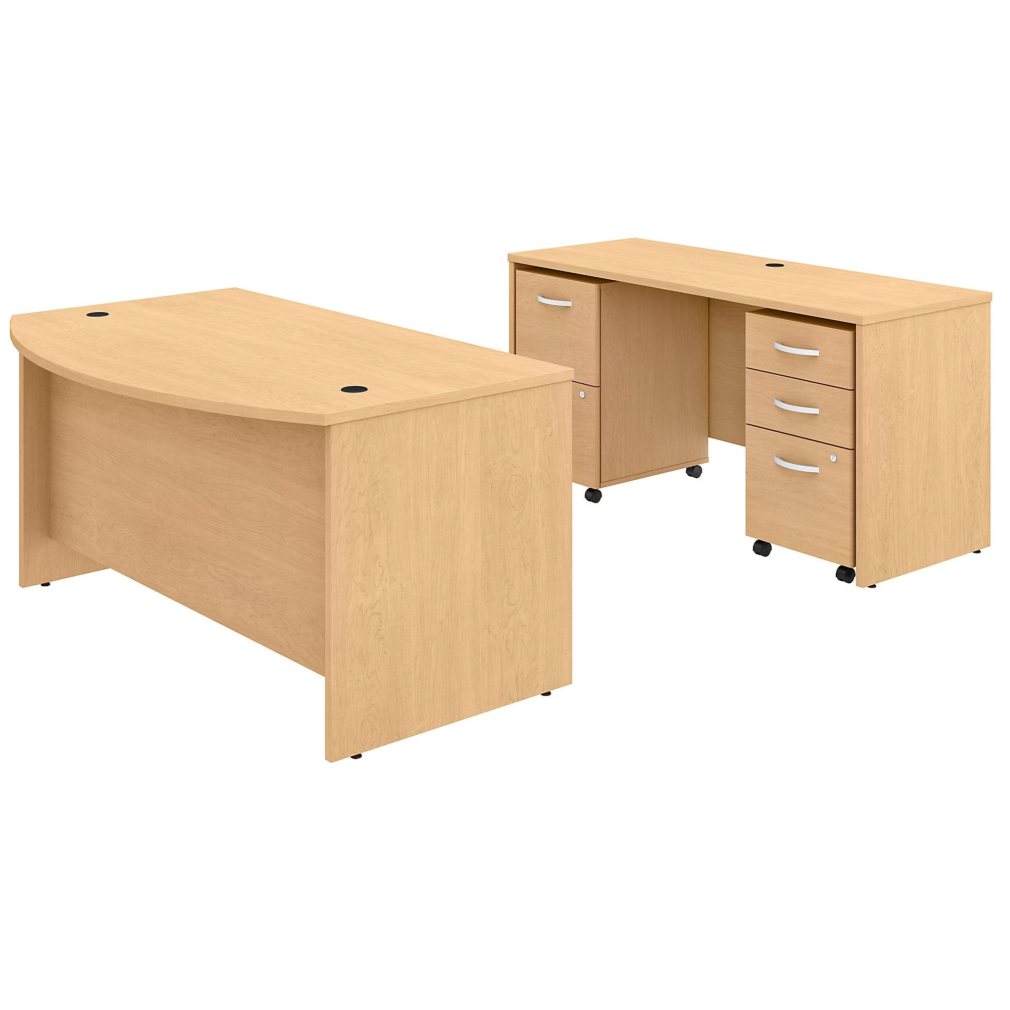 Studio C 60W x 36D Bow Front Desk & Credenza with Mobile File Cabinets