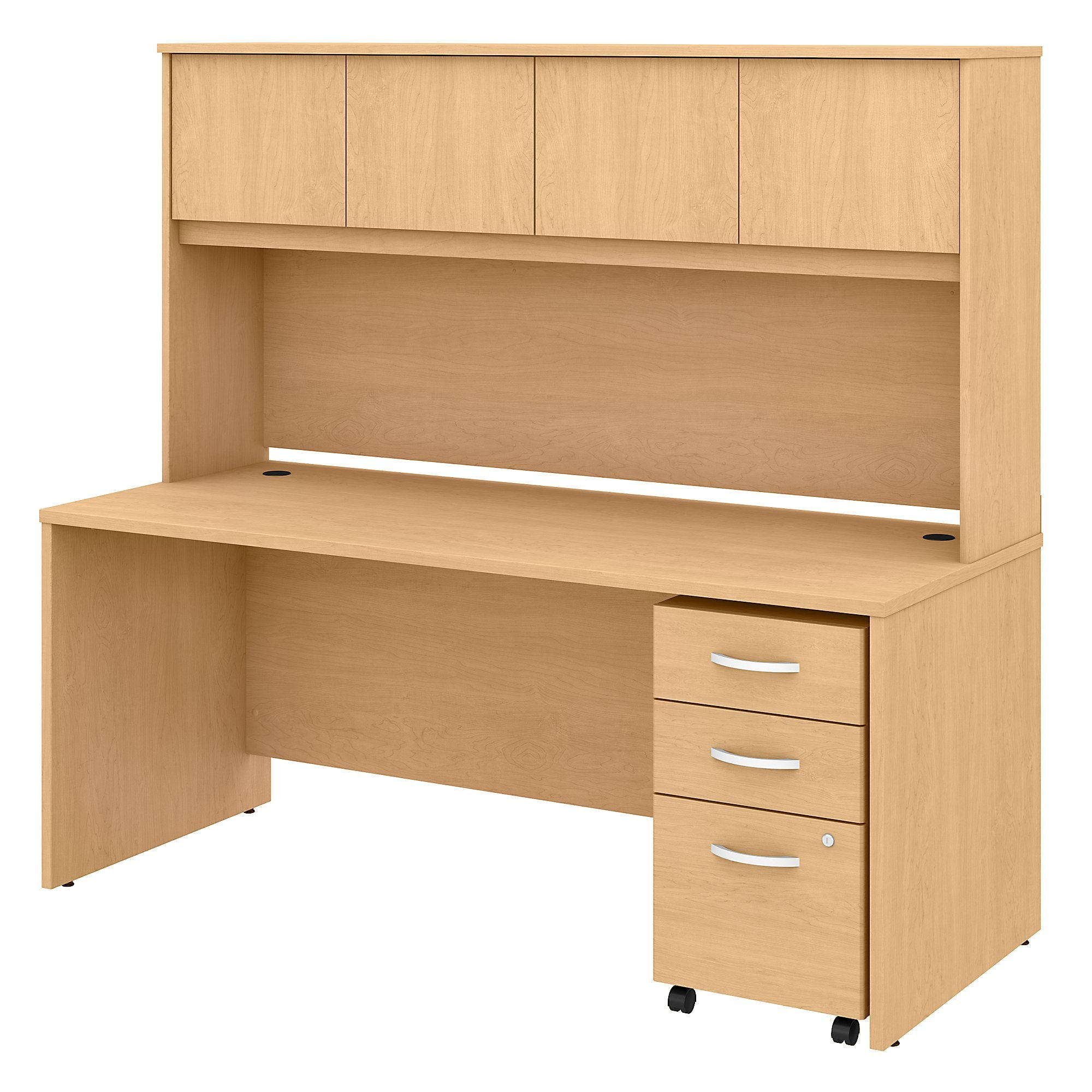 Studio C 72W x 30D Office Desk with Hutch & Mobile File Cabinet