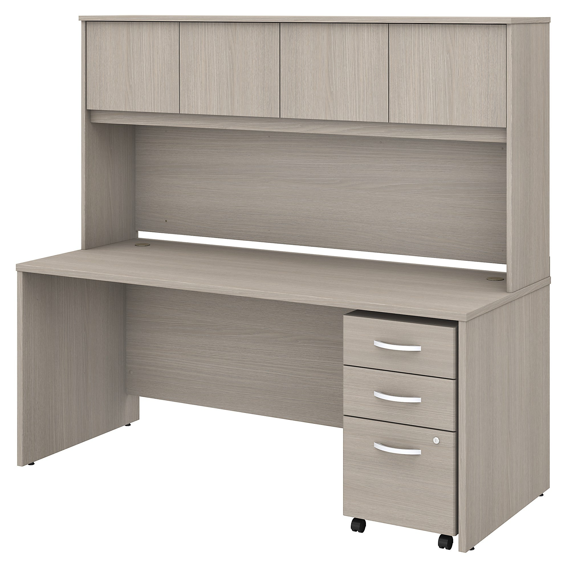 Studio C Office Desk with Hutch & Mobile File Cabinet -Sand Oak