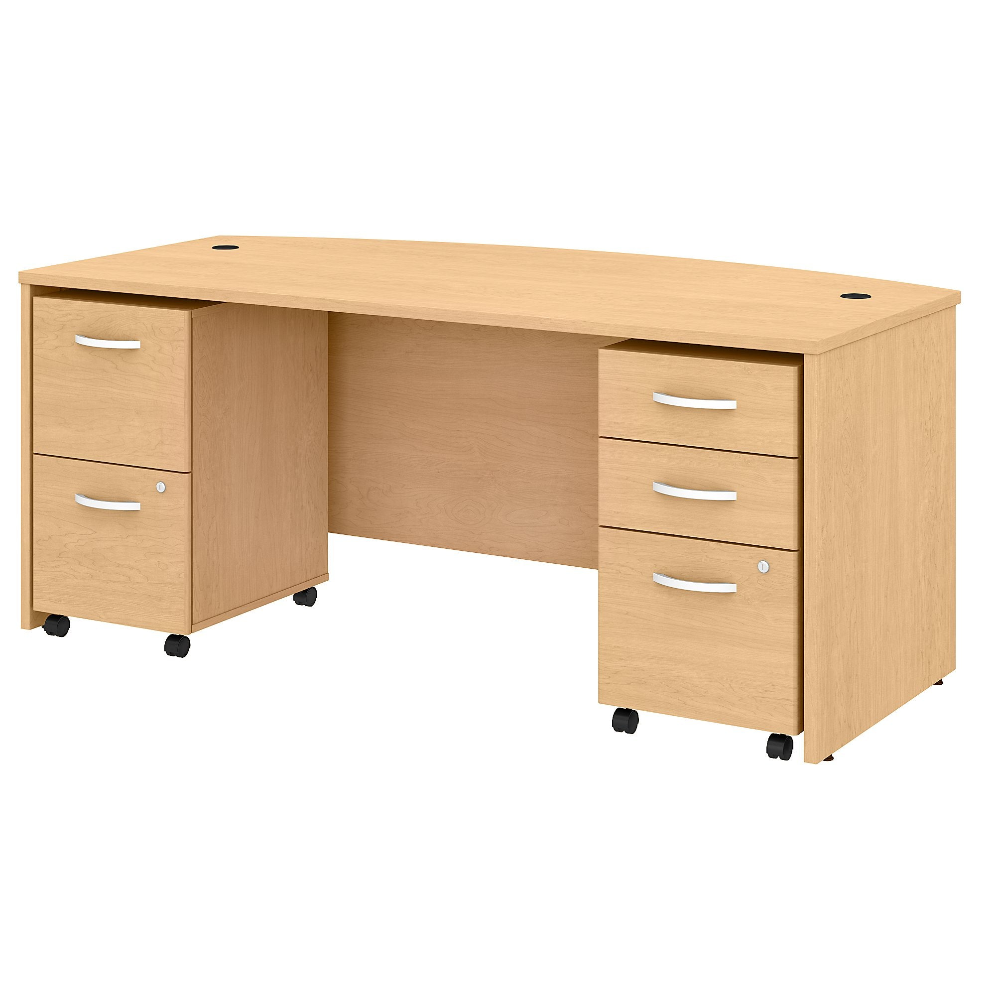Studio C 72W x 36D Bow Front Desk with Mobile File Cabinets