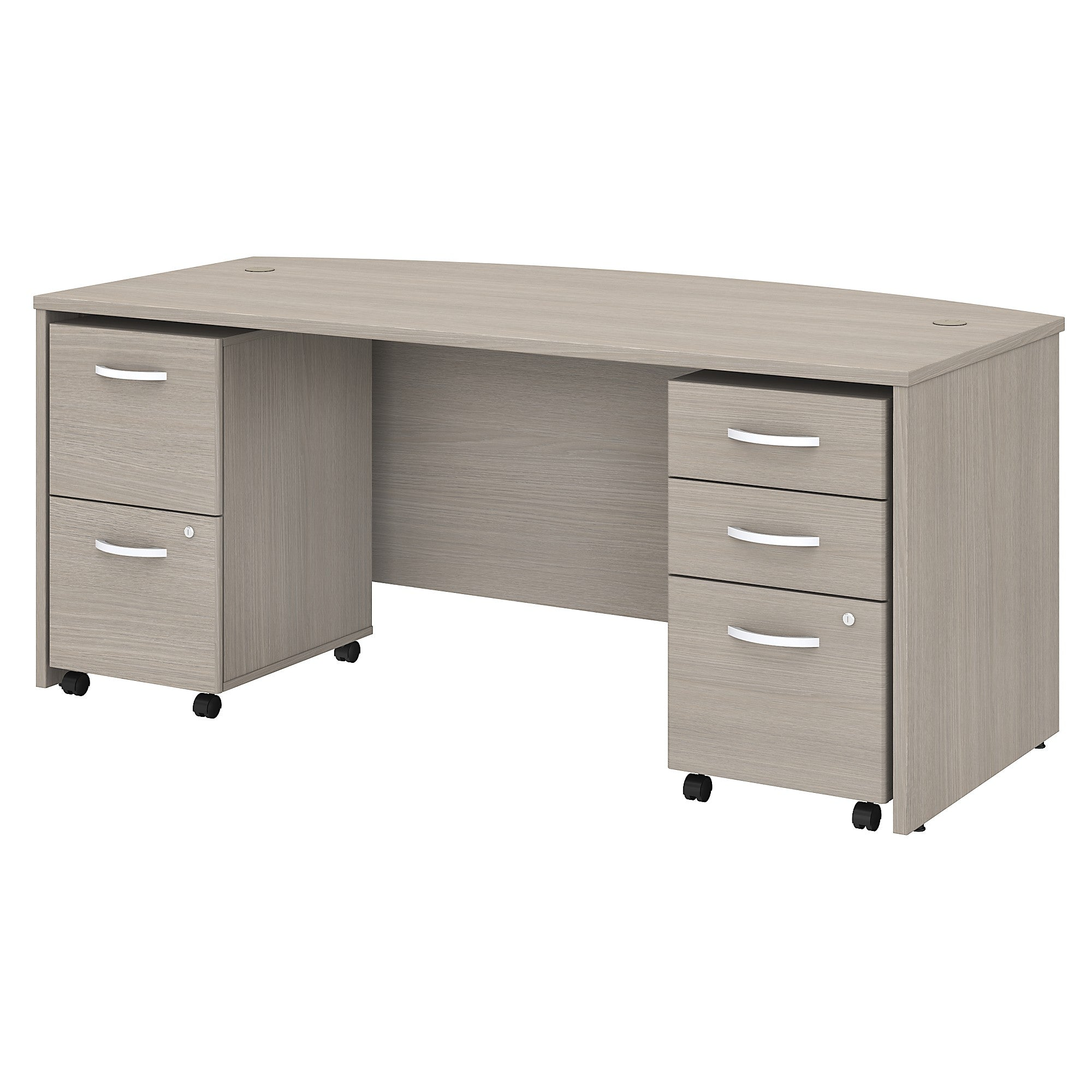 Studio C 72W x 36D Bow Front Desk with Mobile File Cabinets -Sand Oak
