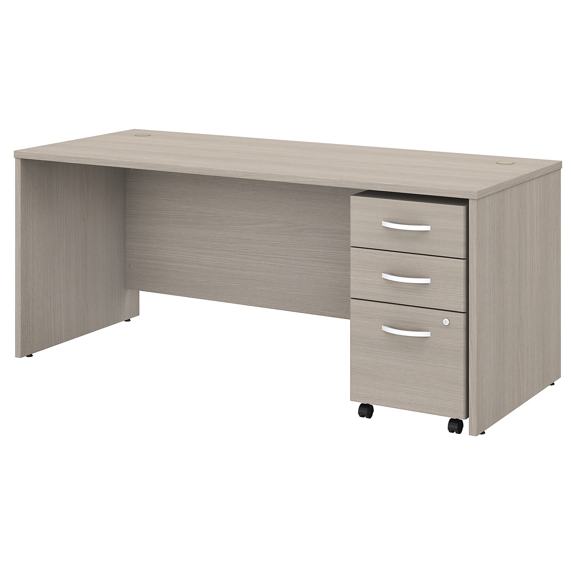 Studio C Office Desk with Mobile File Cabinet- Sand Oak