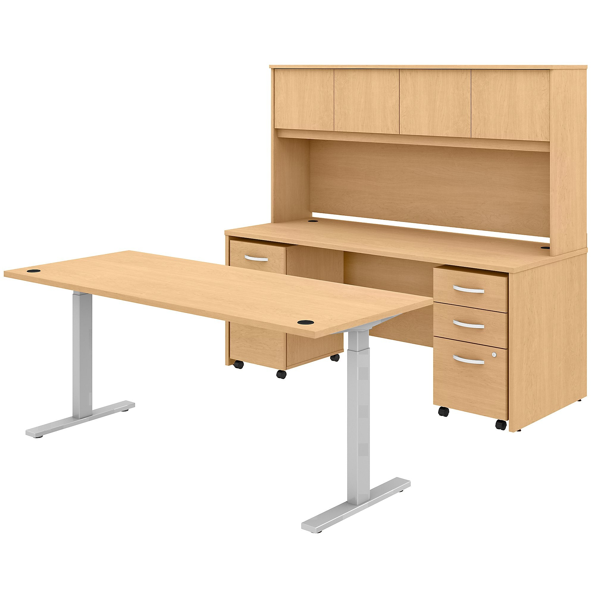 Adjustable Standing Desk Credenza with Hutch & Mobile File Cabinets