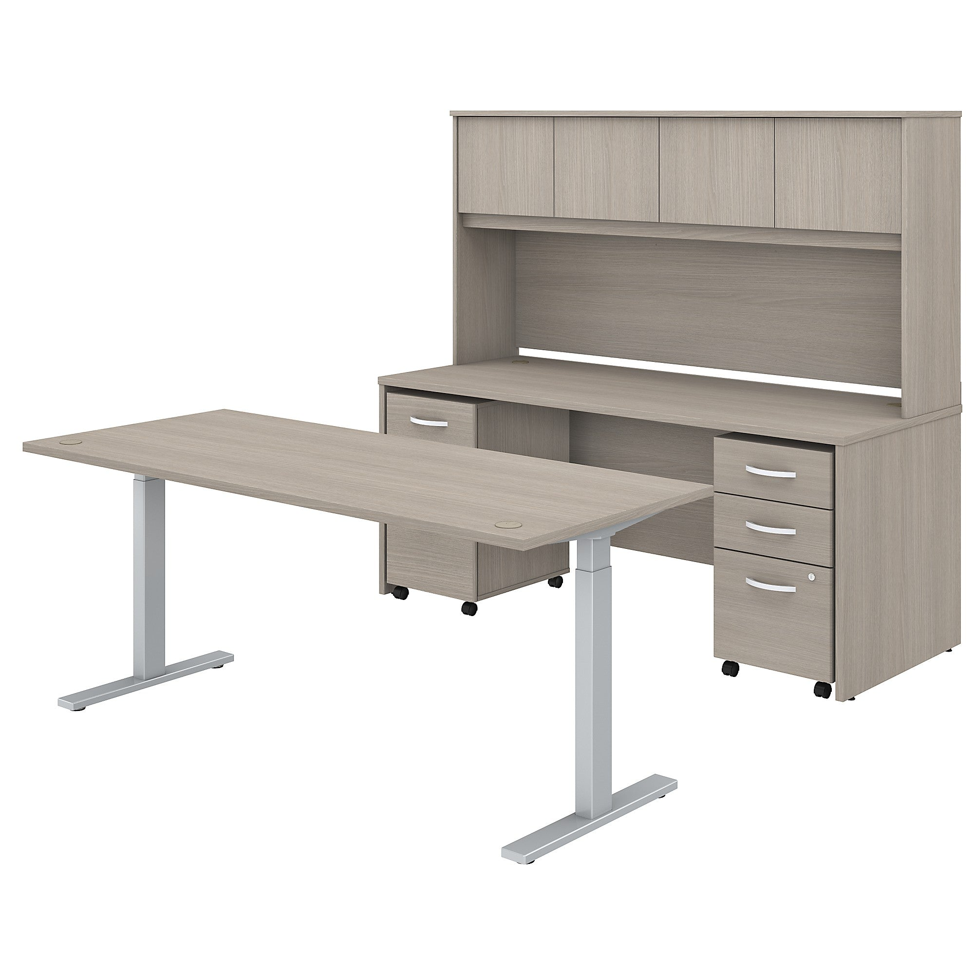 Height Adjustable Desk Credenza with Hutch & Mobile File Cabinets