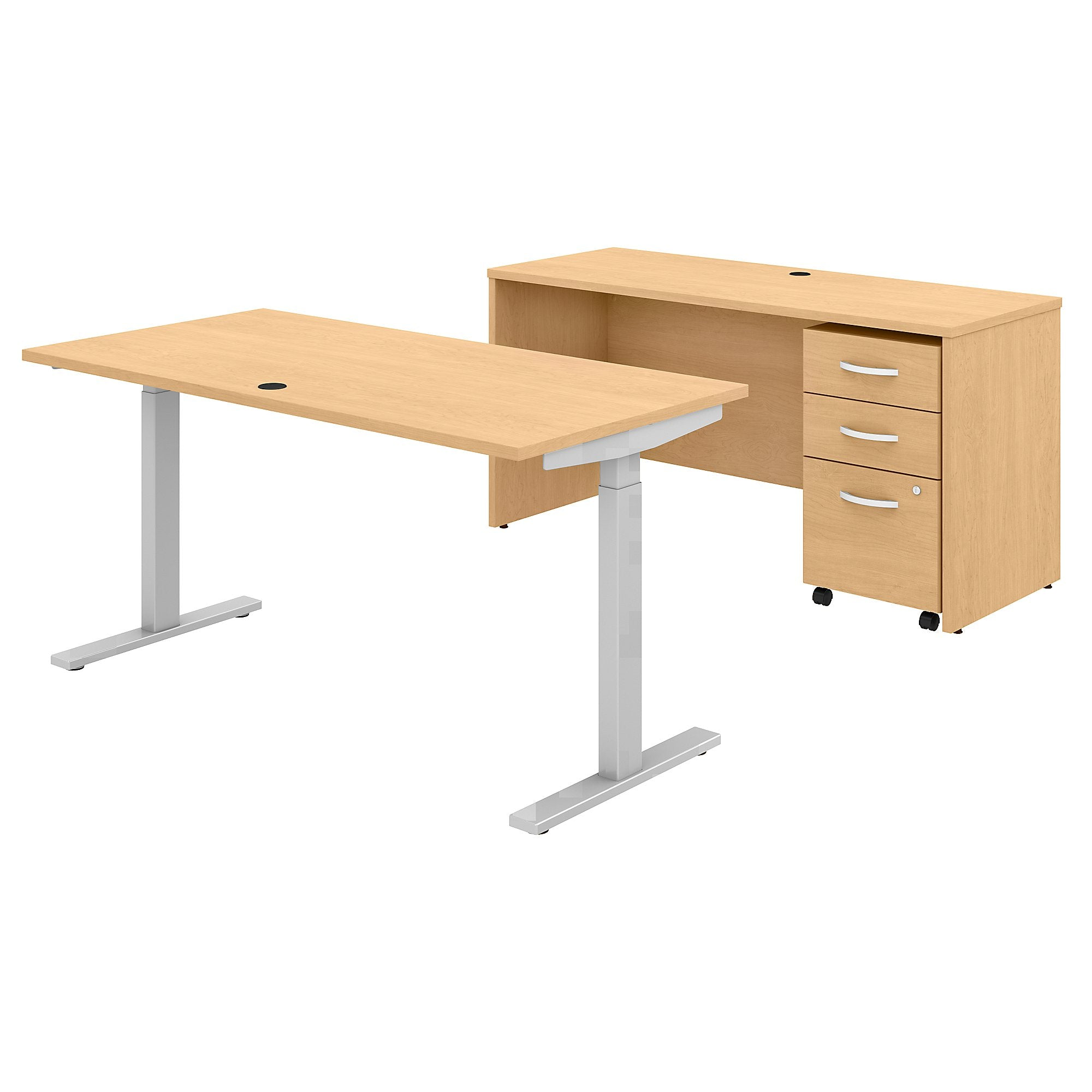 Adjustable Standing Desk Credenza & Mobile File Cabinet