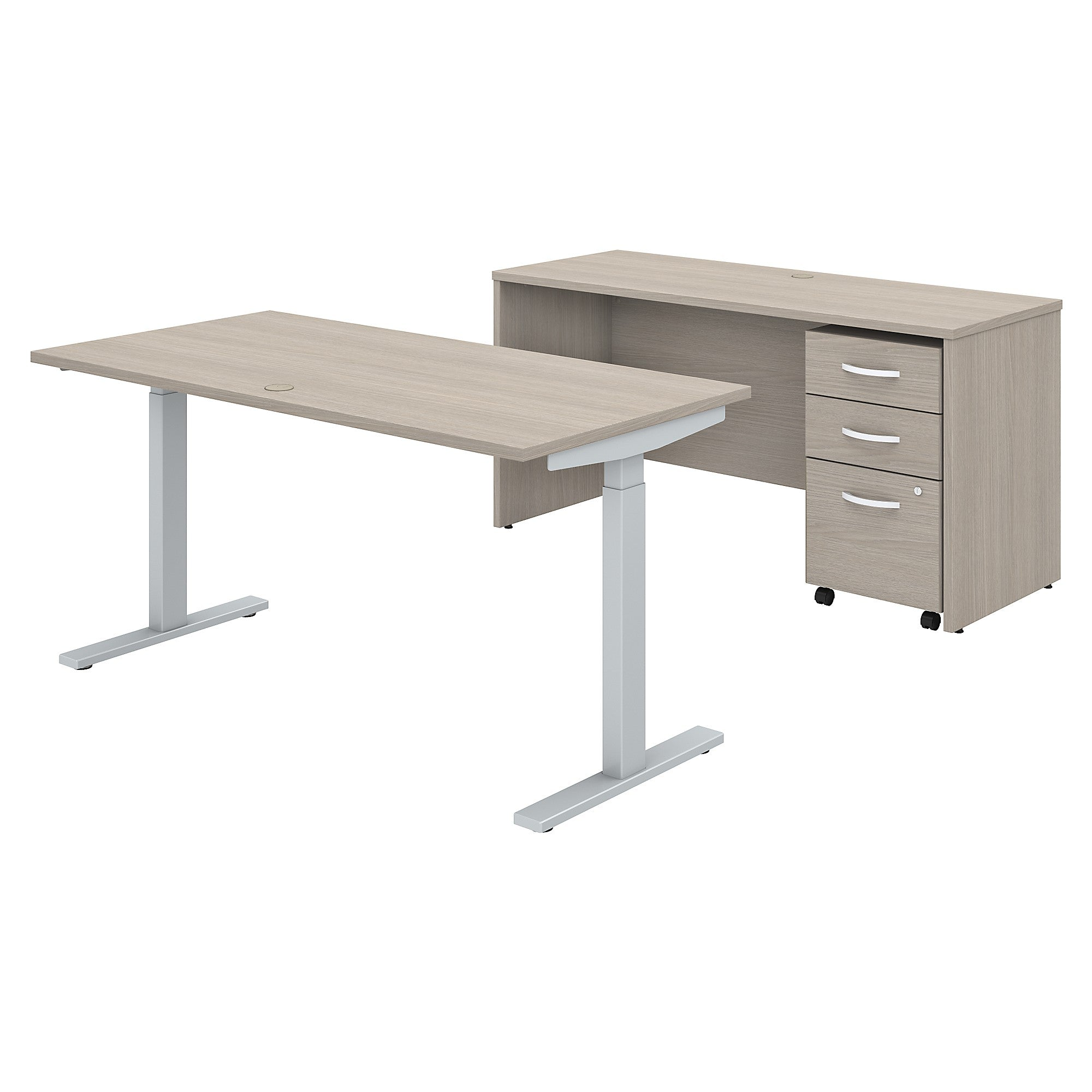 Height Adjustable Standing Desk Credenza & Mobile File Cabinet