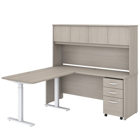 L Shaped Desk with Hutch 48W Height Adjustable Return & Storage
