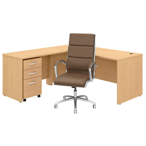 C 72W L Shaped Desk with Mobile File Cabinet & High Back Office Chair