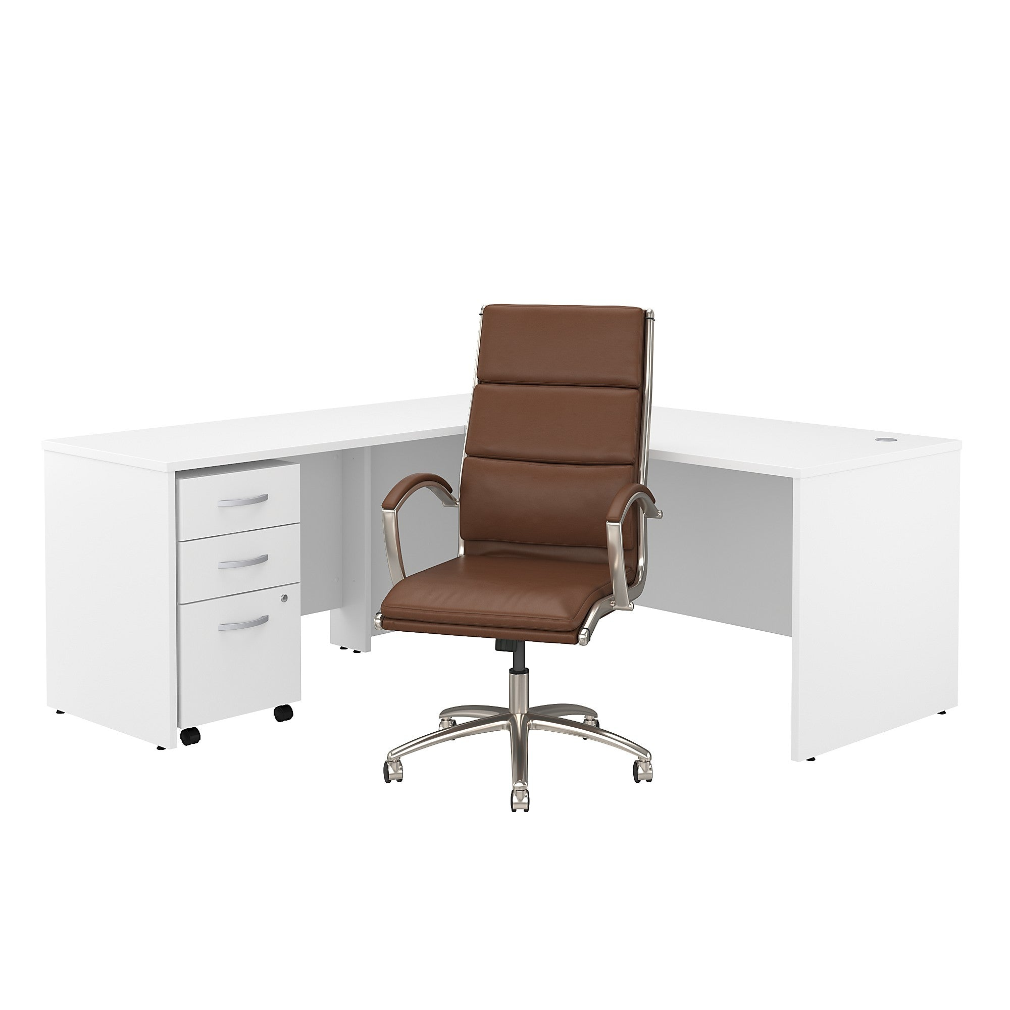 Studio C 72W L Shaped Desk with Mobile File Cabinet & High Back Chair