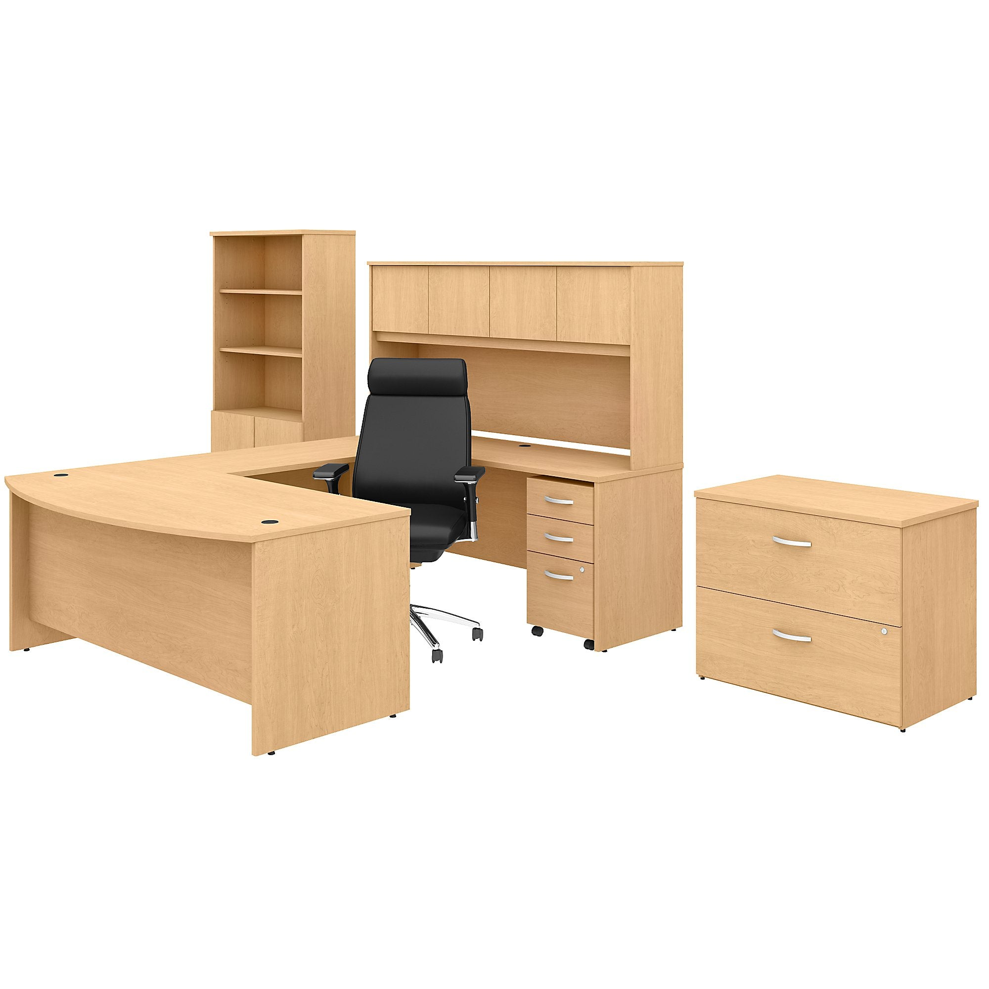 U Shaped Desk with Hutch Bookcase File Cabinets & High Back Chair